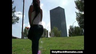 Black TGirl Britney Fox strokes her cock